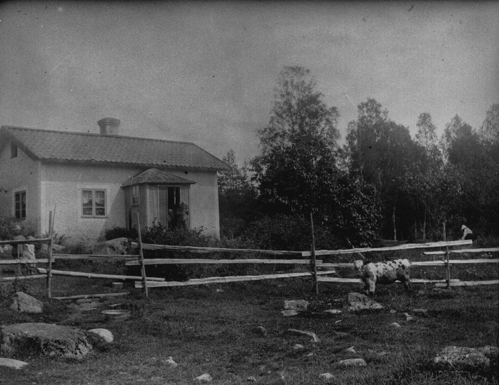 Äldre foto av ett hus med ett staket gjort av brädor framför